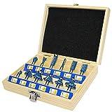 S&R Frser-Set HM, Schaft 8mm, Holzkoffer, geschmiedeter Werkzeugstahl, Schneideplatten aus HM in...