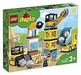 LEGO 10932 DUPLO Baustelle mit Abrissbirne, Bauset mit Lastwagen, Kran und Radlader, Spielzeug für...