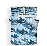 Bedding Set 3D Printed 4 Pieces, Morbuy Duvet Cover Set Microfiber Quilt Cover Includes Duvet Cover...