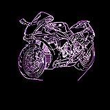 WangZJ Motorrad 3d Visuelle Nachttischlampe Für Schlafzimmer Licht Kreative 7 Farbe Touch Lade Led...