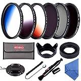 58MM Filter Set Beschoi 6Pcs Filter Kit (CPL+ND4+ND8)+ Verlauf Farbe Filter(Orange Blau Grau)+...