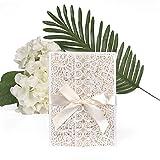 ewtshop Hochzeit Einladungskarten-Set, edle Grußkarten, Umschläge und Schleife, 20er Set