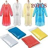 Wekdeg Regenmantel, 20PC Einmaliger wasserdichter Notfall-Regenschutzmantel für Erwachsene...