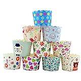 CANDeal 100 Stück Muffin Backformen aus stabilem Papier, groß Ø 5 cm, Muffinförmchen / Cupcake...