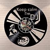 GVC Lustiges Sprichwort Bleib ruhig Ich Bin DJ Wandkunst Wanduhr DJ Mixer Spinning Vinyl...
