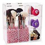 Make-up-Pinselhalter mit durchsichtigem Acrylüberzug, staubdichtem Deckel, 3 Schubladen, Perlen...