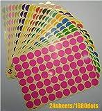 Etiketten-Aufkleber, 1,9 cm, rund, bunte Punkte, 12 verschiedene Farben, 840 Stück