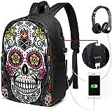 Gsixgoods Rucksack Durable Laptop Backpack 17 Inch Bookbag Backpack for Notebook Sugar Skull