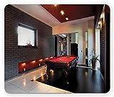Ambesonne modernes Mauspad, Haus mit Snookertisch Hobby Pool Spiel Flachmöbel Freizeitdruck,...