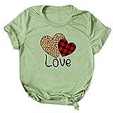 KIMODO Damen T-Shirt Sommer Kurzarm Tops Bluse Valentinstag Herz gedruckt Kurzarm O-Neck T-Shirt...