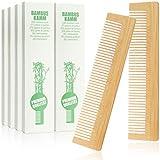 com-four® 10x Haarkamm aus Bambus - Holzkamm - feingezahnter Frisierkamm - handlicher und robuster...