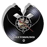 FDGFDG Windhund Hunderasse Wanduhr Whippet Tier Haustiere Hund Begleiter Vintage Vinyl...