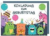 the lazy panda card company 15 Einladungskarten Kindergeburtstag: Monster Geburtstagseinladungen...