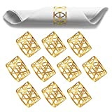 jinbao Serviettenringe Gold, 10 PCS Hollow Out Metall Serviettenringe, Universal Serviettenringe...