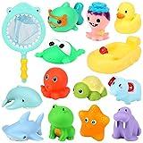Geyiie Badespielzeug, 14 Stücke Schwimmendes Poolspielzeug für Kinder,Angelspielzeug Set...