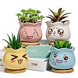 Yangbaga Mini Blumentöpfe mit Untersetzer, Keramik für Sukkulenten, Dekorvase Sukkulenten Töpfe...
