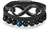 niuziyanfa Co.,ltd Halskette Infinity Multilayer Leder Armband für Männer Schmuck Edelstahl...
