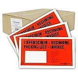 1000 Begleitpapiertaschen Lieferscheintaschen versando DIN lang DL 23,5x13cm rot/schwarz bedruckt...