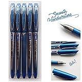 5x Blue Deluxe Gelstifte - Comfort Grip - Leicht nur 5 Gramm - Perfektes und müheloses Schreiben