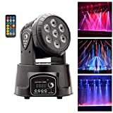 UKing Moving Head Bühnenlicht 7 LED RGBW Lichteffekt mit Fernbedienung DMX512 Sound Master-Slave...