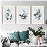 wymhzp Eukalyptus Botanical Leaves Wandkunst Bilder Leinwandbilder Poster und Leinwanddrucke für...