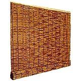 HEWYHAT Verkohlung Bambusrollo, Handgewebte Retro Natür Reed-Vorhänge, Bambus-Rollos Für Hotels...