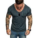 Skxinn Herren T-Shirt Kurzarmshirt Oversize Longshirt Basic Slim Fit einfarbig V-Neck mit Tasche Tee...