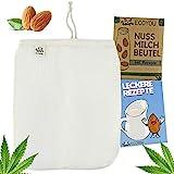 EcoYou Nussmilchbeutel Bio waschbar aus Hanf Veganer Nussmilch Beutel inkl. leckeren Rezepten...