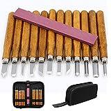 Holz-Schnitzwerkzeug Set, Queta 12 Stück Stechbeiteln Schnitzmesser mit Schleifstein,...