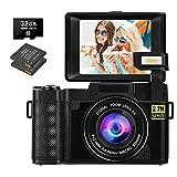Digitalkamera 30 MP 2,7K Full HD Fotoapparat Digitalkamera mit 3-Zoll-Flip-Screen Kompaktkamera für...