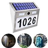 Hausnummer Beleuchtete Solar mit 5 LEDs, Solarhausnummer Edelstahl Hausnummer Solarleuchte Leuchte...
