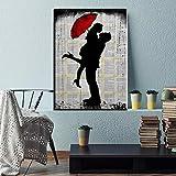 N / A Roter romantischer Regenschirm Paris Stadtturm lgemlde HD Leinwand Poster Wandmalerei...