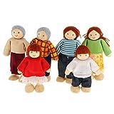 SM SunniMix Biegepuppen Familie Puppenfamilien Puppenhaus Holzpuppen für Kinder Spiel Haus Geschenk