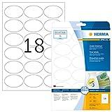 HERMA 4358 Universal Etiketten DIN A4 ablsbar (63,5 x 42,3 mm, 25 Blatt, Papier, matt, oval)...
