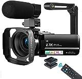 Videokamera Camcorder UHD 2.7K 36MP Vlogging Kamera für YouTube IR Nachtsicht 3.0' IPS Touchscreen...