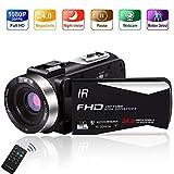Videokamera Camcorder Full HD 1080P 30FPS 24,0 MP Camcorder HD IR Nachtsicht 3,0 Zoll IPS-Bildschirm...