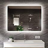s'bagno 600 x 800 mm Badspiegel - LED beleuchteter Badezimmerspiegel [IP44 Rated] Rechteckiger...