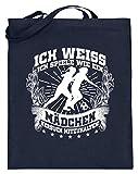 shirt-o-magic Fuball: Wie ein Mdchen? - Jutebeutel (mit langen Henkeln) -38cm-42cm-Deep Blue