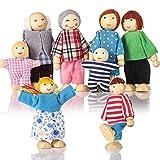 Biegepuppen Puppenhaus Puppen 8 Personen Puppenfamilie für Puppenhaus mit beweglichen Gliedern...