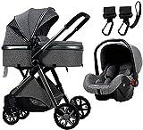 3 in 1 Kinderwagen |Kompakter Kinderwagen |Faltbare Stoßdämpfung Baby Kinderwagen...