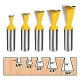 LUBEIN Nut- und Feder-Set, Fräser-Bit-Set, 1/2 Zoll Schaft, T-Form, verstellbar, 3 Zähne,...