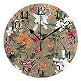 BKEOY Vintage Wanduhren mit Maleroberfläche, Vintage, schöner Blumendruck, geräuschlos, Nicht...