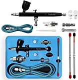 Display4top Airbrushpistole,Double Action Airbrush Kit,mit 0,2 mm / 0,3 mm / 0,5 mm Düse und Nadel,...