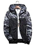 shepretty Herren Jacke Kapuzen Windbreaker Camouflage Zip-Hoodie Sportswear Laufjacke,Grau,L