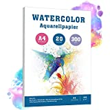 Aquarellpapier A4, 20 Bltter, 300 g/m, Wei Aquarellblock mit Rauher Oberflche, pH-neutral...