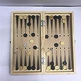 CKY Wooden Folding Tragbares Reisespiel Schach International Checkers Backgammon 3 in 1 Set, 24 *...