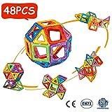 Crenova 48P Magnetische Bausteine Regenbogenfarben Bausatz Pädagogischen Magnetischen Fliesen...