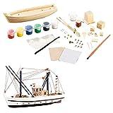 Playtastic Bausatz Boot Kinder: 40-teiliger Schiff-Bausatz Fischkutter aus Holz (Schiffbausatz)