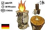 3 x Schwedenfeuer inkl. Anznder | Finnenfeuer | Baumstammfackel |Gartenfackel | Lichtrollen |...