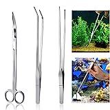 sgerste Aquarium-Set Werkzeug Zubehör Edelstahl Aquarium Tank Wasserpflanze Pinzette Schere Tools...